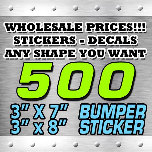 500 BUMPER STICKER 3X7 3x8